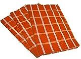 Towelsdirect - canovaccio Portland a quadrettoni, 50 cm x 70 cm, in cotone egiziano, colore arancione / bianco (confezione da 3 pezzi)