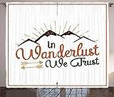 ABAKUHAUS Camping Rustikaler Gardine, In Wanderlust Vertrauen wir Text, Schlafzimmer Kräuselband Vorhang mit Schlaufen und Haken, 280 x 260 cm, Mehrfarbig