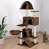 Happypet® Kratzbaum für Katzen 143 cm hoch Dicke Säulen mit Sisal ca. 8,0 cm Höhle Liegemulde Spielmaus Braun