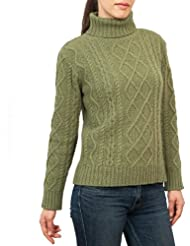 Wool Overs Pull irlandais à col roulé femme en laine d'agneau