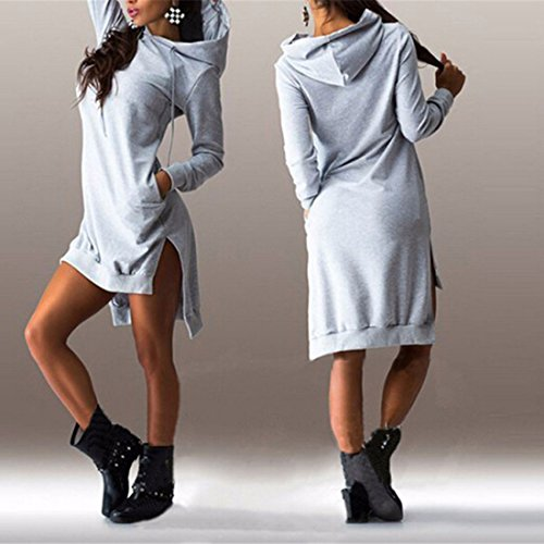 Manches longues ronde Casual Cotton Dress Loose Women Robes solide de couleur Gris