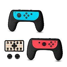 CHIN FAI Nintendo Switch Joy-con Manopole per Maniglie di Presa del regolatore, Confezione da 2 Maniglie di Joy-con Maniglia per Interruttore Nintendo con 2 coperchietti a Punta e plastica(Nero)