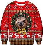 FLYCHEN Felpa Natale Donna Senza Cappuccio Stampato Funny 3D Christmas Colorata Funny Divertente Felpe Girocollo Casuale Ugly Cosplay Cappelli pettorali - 2XL