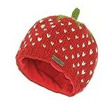 McRon Damen Gestrickte Wollmütze Erdbeere Rot