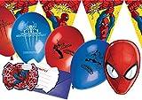 Ciao Y2508 - Kit Party Accessori Festa Spider Man per 12 Persone (41 Pezzi: 12 Inviti con Busta, 12 Mascherine, 16 Palloncini, 1 Filare Bandierine)
