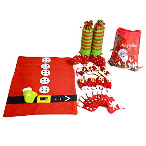 Weihnachtsdeko, Besteht aus Tischsets Platzsets Flaschenbeutel Besteckhalter Bestecktasche Nikolaus Weihnachtstüte Geschenkbeutel für Weihnachten (Mini-filz-weihnachts-strümpfe)