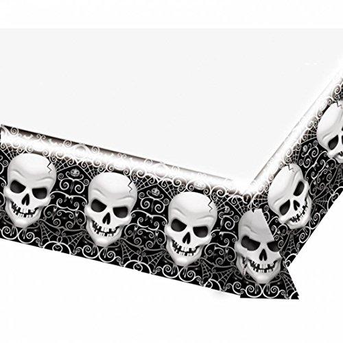 NET TOYS Totenkopf Tischdecke Halloween Tisch Decke 137 x 259 cm Totenschädel Tischtuch Schädel Halloweenparty Tischwäsche Horror Tischdeko Skelett Kopf Tischdekoration Halloweendekoration gruselig