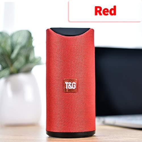 Etbotu,Bluetooth Lautsprecher,Tragbarer Außenlautsprecher Drahtlose Mini Säule 3D 10 Watt Stereo Musik Surround Unterstützung FM TF Karte Bass Box,rot