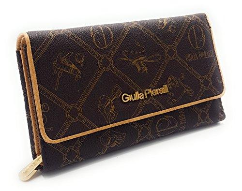 88c4d013d86e53 RG# 178 Giulia Pieralli Damen Glamour Geldbeutel Geldbörse Portemonnaie XXL  Kunstleder, Braun, Mittel
