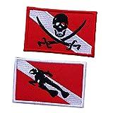 2pcs Tauchen Pirate Flag Patch Rucksack Weste Abzeichen Eisen Auf Bestickt