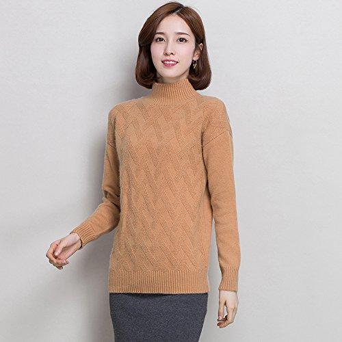 HY-Sweater Verdickung Pullover Frauen Mantel Berg schlank Muster gestrickt Halbhohe Kragen lässig, Kamel, XXL -