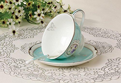 Teetasse aus hochwertigem Porzellan inkl. Untertasse und Löffel – Türkis – Vintage – Landhausstil – Barock - 4