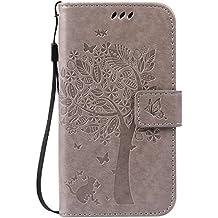 Guran® Funda de Cuero Para Motorola Moto G (2nda Generación) Smartphone Función de Soporte con Ranura para Tarjetas Flip Case Cover-gris