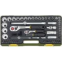 Proxxon 23286 Steckschlüsselsatz mit Knüppelratschen 1/4 Zoll und 1/2 Zoll, 65-teilig