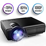 Tenker Mini Beamer 2200 Lumens Full HD 1080P Video LCD Mini HD Projektor, Unterstützung HDMI VGA Decke/ Stativ Installation für Video TV PC Laptop Spiele iPhone Android Smartphone mit erstklassigem Ton & wenig Beigeräusch