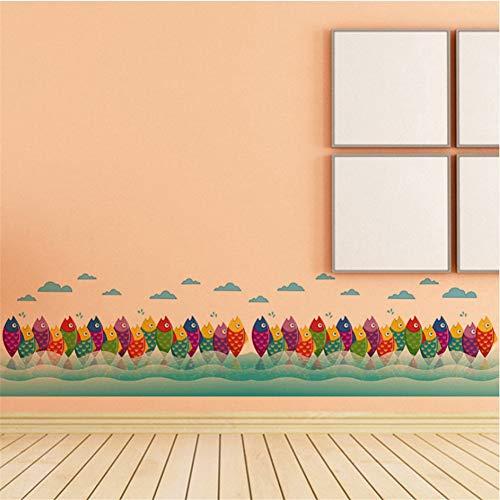 (Mddrr Cartoon Bunte Fisch Klassenzimmer Kinderzimmer Schlafzimmer Dekoration Wandaufkleber Schlafzimmer Wohnzimmer Wand Stickers50X70Cm Kindergarten Kinderzimmer)