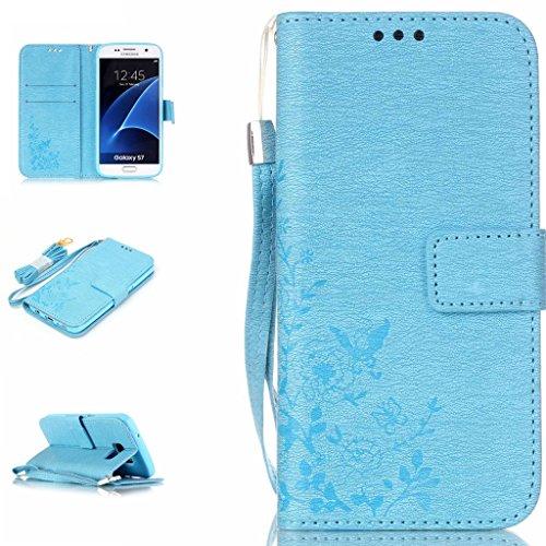 BoxTii® Custodia a portafoglio in pelle PU per iPhone 6/iPhone 6S, con cover interna in silicone e pellicola proteggi schermo in vetro temperato inclusa, chiusura magnetica a libro, scomparti per cart #7 Blue