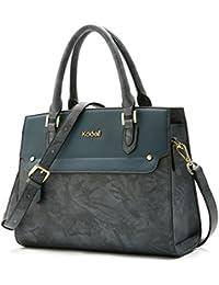 Kadell Women'S Vintage Leather Handbags Tote Satchel Shoulder Bag Top Handle Purse Peacock Blue