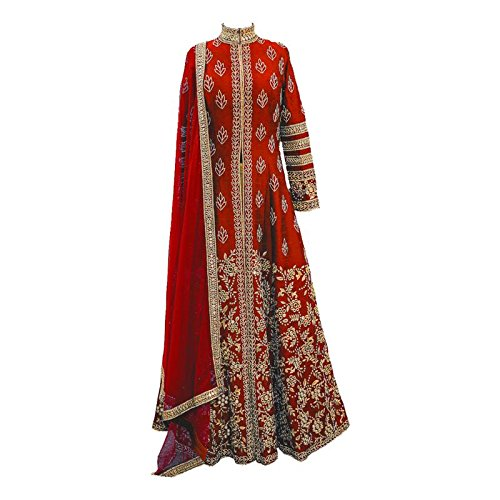 Aryan Fashion Women\'s Banglory Silk Semi-Stitched Dress Material (Afs-Er-Ewe11153_Red_Free Size)