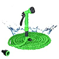 TMYQM 25-200FT Hot Expandable Magic Flexible Garden Water Hose For Car Hose Pipe Plastic Hoses garden set to Watering with Spray Gun (Color : Green, Lengh : 100ft)