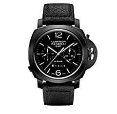 Idea Regalo - PANERAI MEN'S LUMINOR 1950 44MM BLACK LEATHER BAND AUTOMATIC WATCH PAM00317