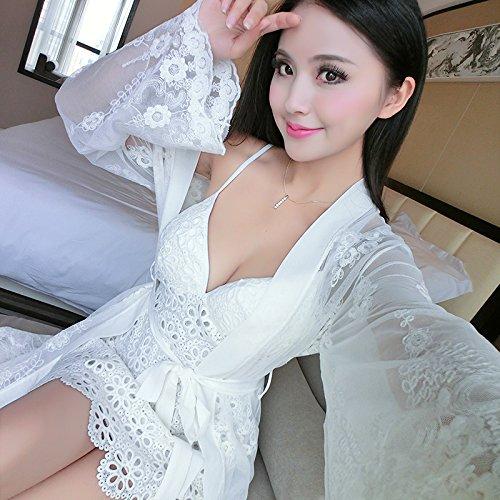 SQDQNUR-fascetta camicia da notte in due pezzi per donna pigiama pizzo donna lingerie estrema tentazione con tampone di torace Nightgown,160(M),9115-bianco