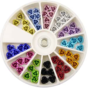 Nail Art MoYou 3D Rose shaped Mix color Pack of Premium Quality Ceramic Nail decoration in 12 different colours, beauty accessory for women nails, fun and easy to apply with top coat or nail glue