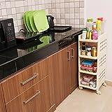 #9: Kurtzy Vertical 4 Layer Space Saving Storage Organizer Rack Shelf With Wheels For Kitchen Bathroom Lxbxh 28X33X86 cm