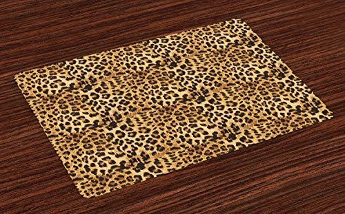 zmatten, Leopard-Druck-Tierhaut-Digital druckte Wilde afrikanische Safari-Themed beschmutzte Muster-Kunst, Tiscjdeco aus Farbfesten Stoff für das Esszimmer und Küch, Braun ()