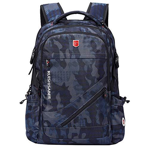 TnXan Hiking Backpack Trekking Rucksacks Anti-Thief USB Charging Laptop Backpack Men Swiss Oxford bagpack Waterproof Travel Backpack Female Vintage School Bag 17inch