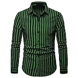 Mode Lässig Revers Button Shirt Klassische Gestreifte Tasche Langarm Top(Grün,XL)