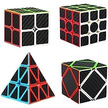 Aiduy Puzzle Cubes Pyraminx + 2x2x2 + 3x3x3 + Skewb 4 Pack Cubo Magico con Pegatina de Fibra de Carbono Velocidad