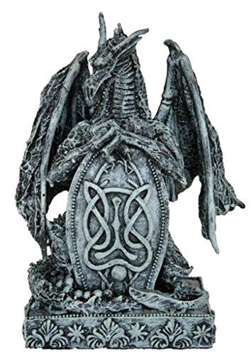 5 Inch Silver Chrome Design Toscano Dragons of Corfu Castle Gothic Decor Statue Globe Figurine