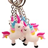 BonZeal PVC Silicone White Unicorn Keychain Holder for Kids-Pack of 5