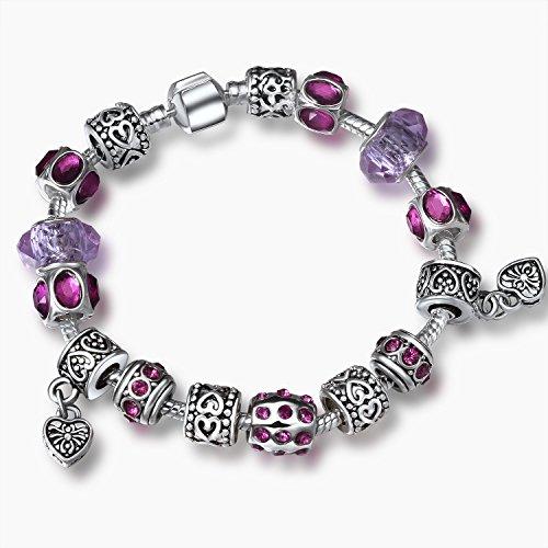 A TE® Bracciale Charm Cristalli Beads cuore Regalo da Donna per la Festa #JW-B108