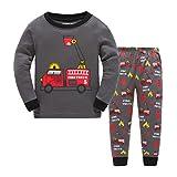 Showu Jungen Kleidung Frühlingszeit Herbst 100%Baumwolle Langarm Shirt + Hosen Babykleidung-Anzüge(1-7Jahre) (Feuerwehrauto, 2-3 Jahre)