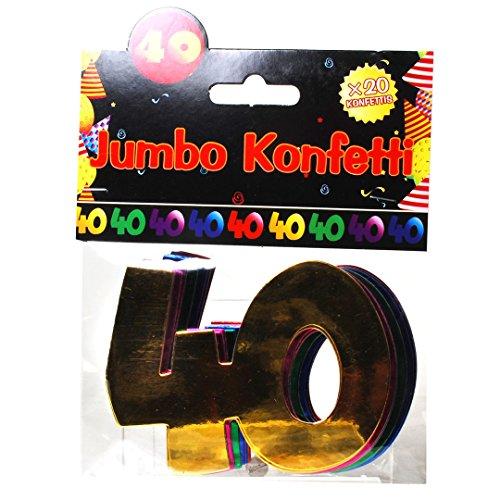 "Jumbo Zahlen Konfetti ""40"" Geburtstag Dekoration Party Tischdeko bunt"