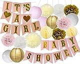 Baby Shower Dekorationen BABY DUSCHE & IT'S A Girl Girlande Bunting Banner Seidenpapier Blume Pom Poms Papierlaternen Papier Wabenbälle Pink / Weiß / Gold / Creme Party Dekoration Kinderzimmer Dekor