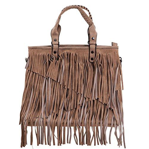 Toocool - Borsa donna a spalla borsetta frange tasche tracolla zip nuova D23598 kaki