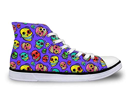 Cool Skull Boys Girls High Top Canvas Sneakers Shoes School Womens New Travel Purple C3942AK Women¡®s us Size 6