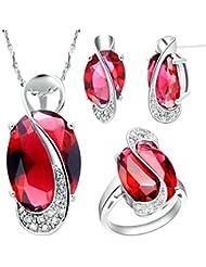 AnaZoz Joyería de Moda Simple Personalidad Chapado en Platino Juegos de Joyas Para Mujer (Collar Pendiente Anillo Juegos de Joyas) Rojo Oval Cristal Rubí Granate