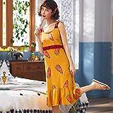 Handaxian Damen-Kurzpyjamas aus Baumwolle Damen-Freizeitpyjamas aus Loser Baumwolle mit Brustpolster Damenkleid 2 L