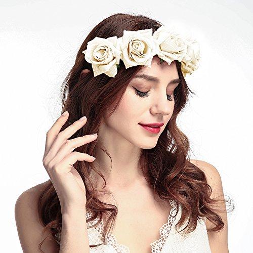 les clients d'abord achat authentique Royaume-Uni disponibilité ZEWOO Bandeau cheveux de mariage, Fleur Couronne Bandeau Floral Guirlande  Couronne Accessoires à Cheveux pour Mariage Festival Partie Voyage