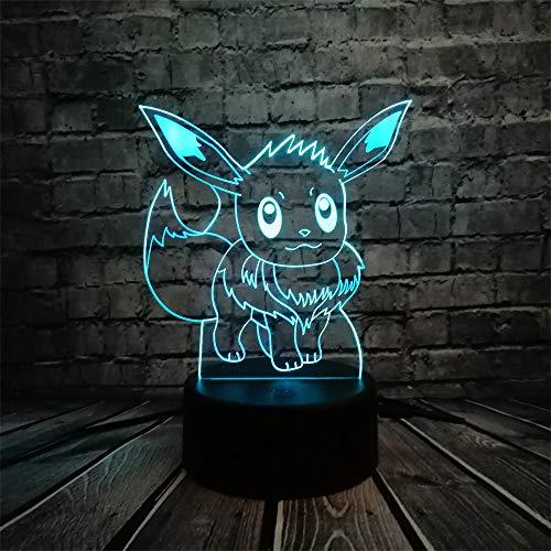 ZHIJINLI Pokemon Go Figura de acción Lámpara 3D RGB Pikachu Eevee Tortuga Pájaro Dragón de Fuego Bola Pokeball Bulbasaur Bahía Papel Luz de Noche de Regalo LED, Controlador 7 Color