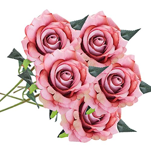 Clearance 5 heads artificial silk fake flowers friendgg clearance 5 heads artificial silk fake flowers friendgg simulation rose flower plants craft high quality wedding bouquet party kitchen home decoration mightylinksfo