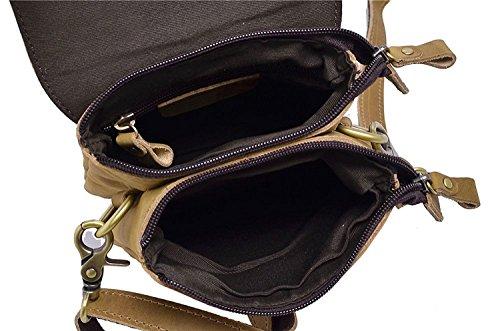Genda 2Archer Uomini Piccola Tracolla in Pelle Sacchetto Della Vita per gli Uomini (17 cm* 5cm * 20cm) Marrone Giallo