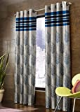 Homefab India 1 Piece Jacquard Blackout Jute Window Curtain - 5 Feet, Blue