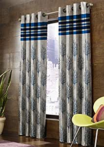 Homefab India Jacquard Blackout Jute Floral 2 Piece Eyelet Polyester Normal Curtain - 7ft, Blue