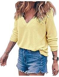 Meyison Damen V Ausschnitt Casual Shirts Knit Pullover Tops 8fdad0b8fc
