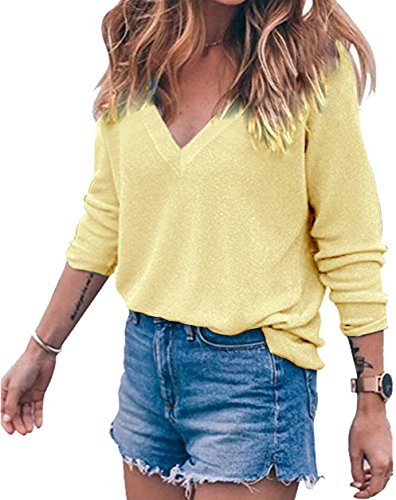 Meyison Damen V Ausschnitt Casual Shirts Knit Pullover Tops Aprikose-XL (Top Knit Cashmere)